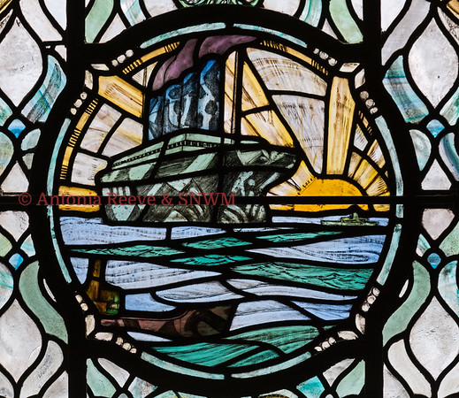 SNWM: East Window for Royal Navy: Troopship in Dazzle Camouflage