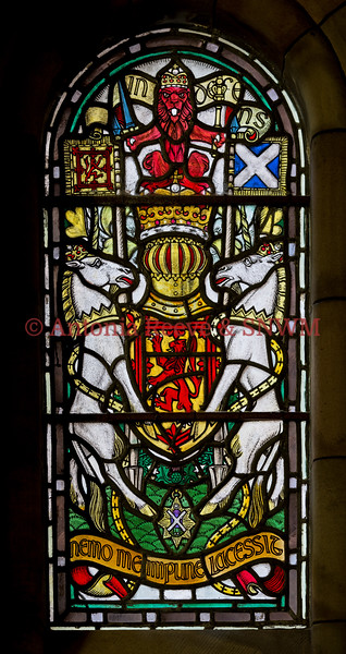 SNWM:Window, East: Royal Arms of UK used in Scotland