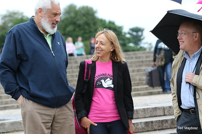 left to right Rev. Graylan Scott Hagler of the Plymouth Congregation Church D.C./ Medea Benjamin of Code Pink / Chris Hedges Pulizer Prize winning  journalist and author.