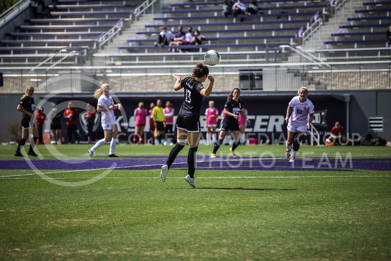 Sophomore midfielder Bailey Nemechek heading the ball on Saturday's game (April 10, 2021) against Iowa State at Busser Family Park Stadium.<br /> Elizabeth Proctor Collegian Media Group