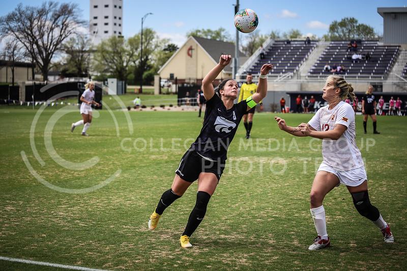 Senior midfielder Brookelynn Enez going up for a header on Saturday's game (April 10, 2021) against Iowa State at Busser Family Park Stadium.<br /> Elizabeth Proctor Collegian Media Group
