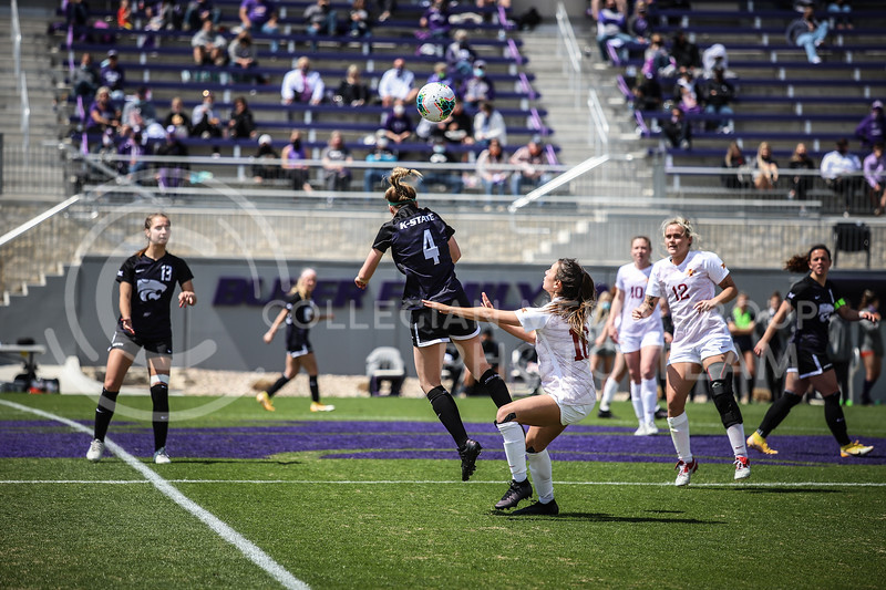 Sophomore defender Aliyah El-Naggar heading the ball on Saturday's game (April 10, 2021) against Iowa State at Busser Family Park Stadium.<br /> Elizabeth Proctor Collegian Media Group