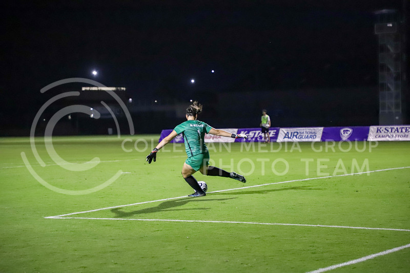 Wildcat's sophomore goalkeeper, Alaina Werremeyer kick the ball away from the goal. The Wildcats played West Virginia on October 7, 2021 at the Busser Family Park. (Madison Riebel   Collegian Media Group)