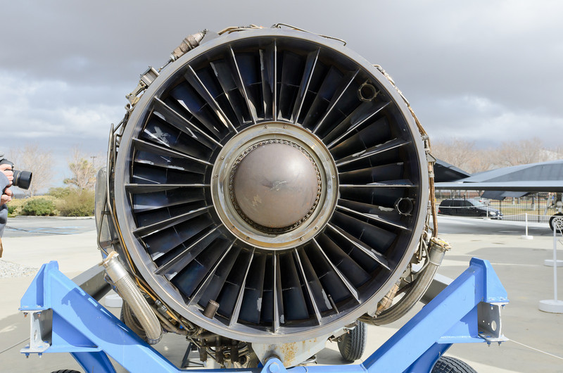 Front end of an SR71 engine.  BLACKBIRD AIR PARK, EDWARDS AFB FLIGHT TEST MUSEUM.