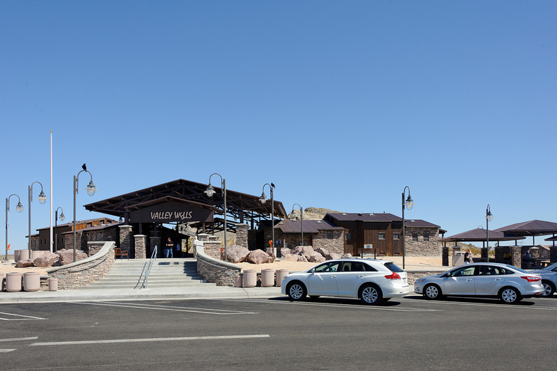 Valley Wells visitor center and rest area Between the CA / Nevada border and Baker.