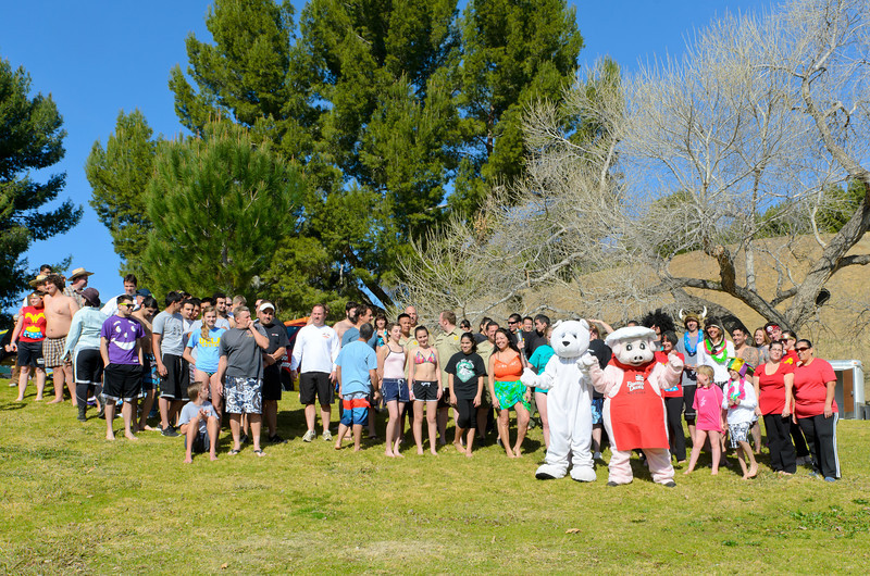 Polar Plunge Charity Swim at Castaic Lake 2/18/12  Getting ready for the BIG plunge!