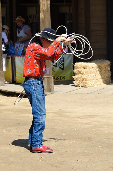 Cowboy Festival at Melody Ranch, Santa Clarita 4/22/12   Street performer.  Where is that damn cow???