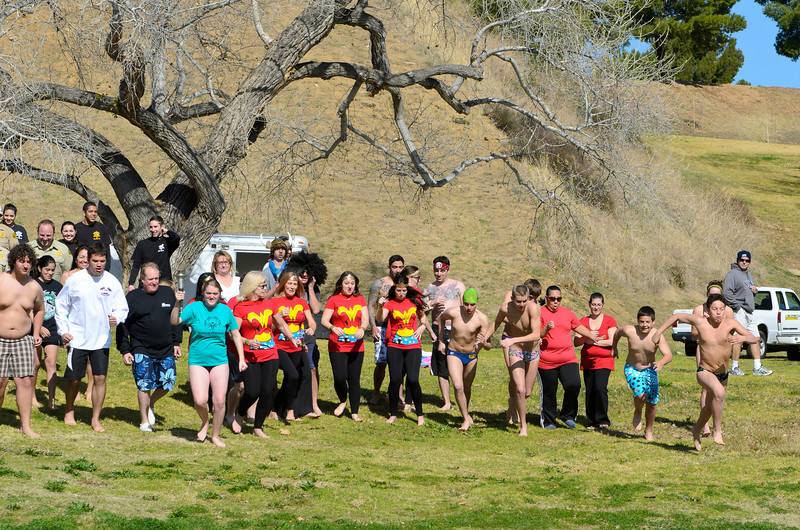 Polar Plunge Charity Swim at Castaic Lake 2/18/12  Getting ready for the BIG plunge!  And they are off!