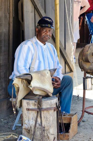 Cowboy Festival at Melody Ranch, Santa Clarita 4/22/12  Buffalo Soldier blacksmith.  Really nice guy, talked with him a bit.
