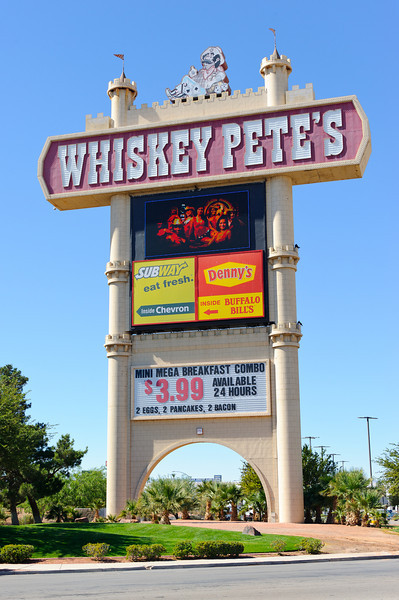 WHISKY PETE'S on the California / Nevada border in Primm....  Check out the MINI MEGA BREAKFAST.  What exactly does that mean???