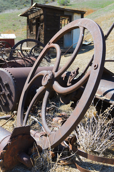 Mentryville, CA   Oil rig equipment.  This looks like part of an engine to drive a pump.