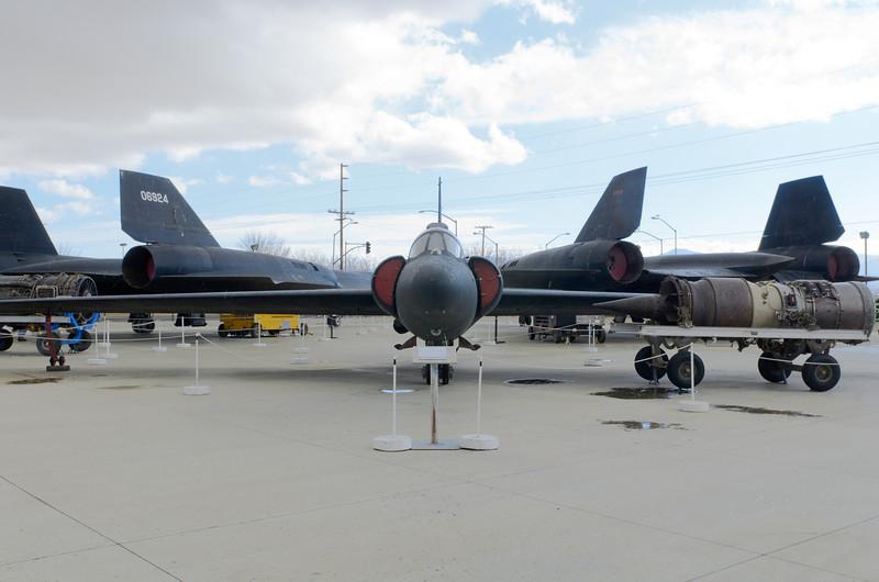 vintage U2D wiith SR71s in background @ BLACKBIRD AIR PARK, EDWARDS AFB FLIGHT TEST MUSEUM..