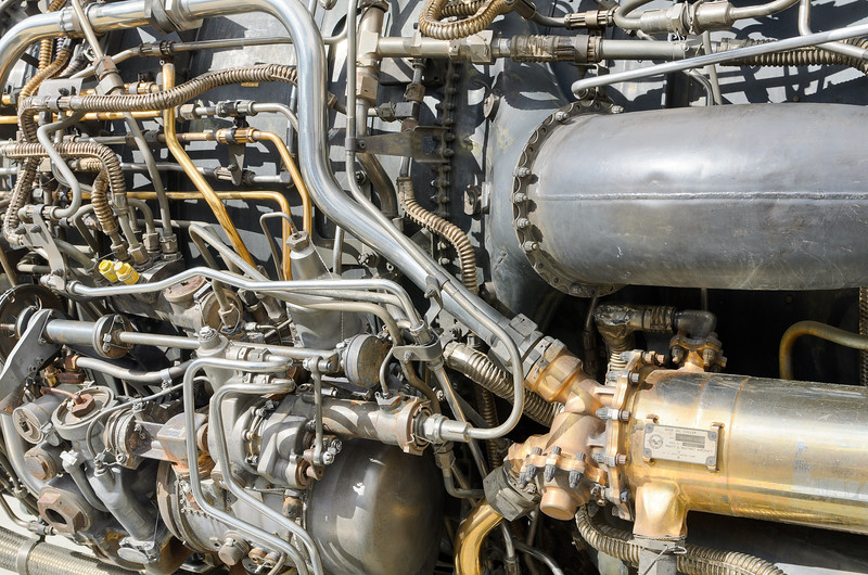 Think the engine in your car is complex?  Here is a shot of SR71 engine, 32,000 lbs of thrust.  BLACKBIRD AIR PARK, EDWARDS AFB FLIGHT TEST MUSEUM.