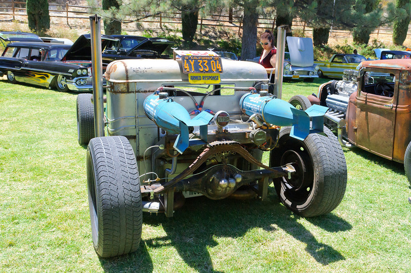 Mouldy Marvin's Rat Fink Car Show at the KOA in Acton, CA  6/30/12  Twin turbo RAT Beast....