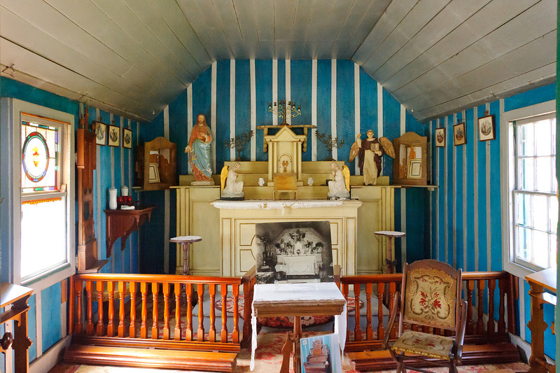 Rancho Camulos.  .  The inside of the chapel with the original icons and furnishings.