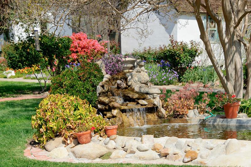Rancho Camulos.  .  Fountain in the front yard/playground of the school house.