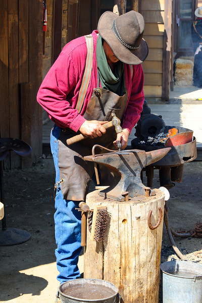Cowboy Festival at Melody Ranch, Santa Clarita 4/22/12  Purchase a used horse shoe and have your name stamped into it by a blacksmith.