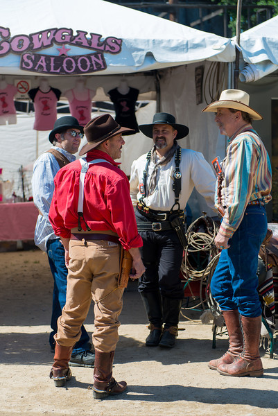 Melody Ranch  Cowboys hanging out in front of the Cowgal's Saloon.