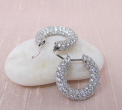 4.95tcw Pave Diamond Huggie Earrings
