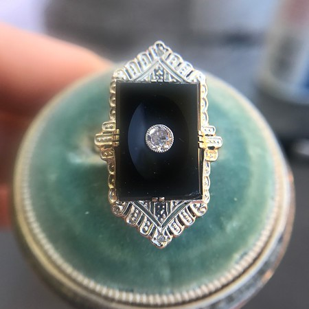 Art Deco Diamond and Onyx Plaque Ring