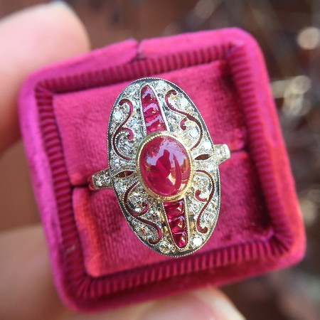 Cabochon Ruby and Diamond Art Deco Style Dinner Ring