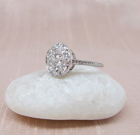 Edwardian Old European Cut Diamond Cluster Ring