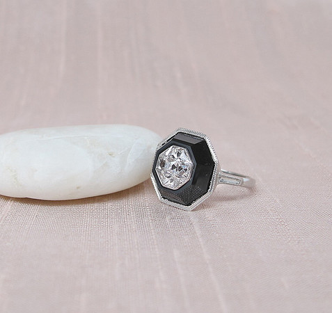 French Cut and Onyx Art Deco Dome Ring
