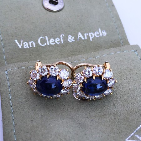 Van Cleef and Arpels Sapphire and Diamond Clip Earrings