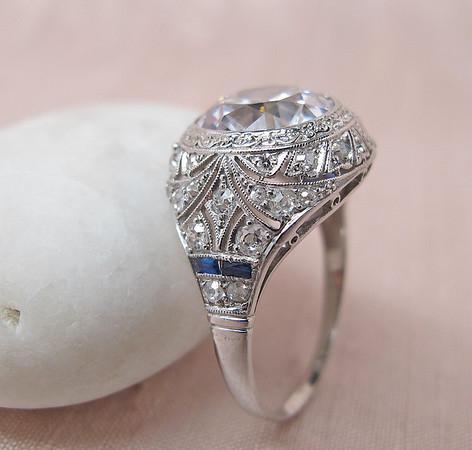 Vintage Art Deco Ring with Diamond Simulant
