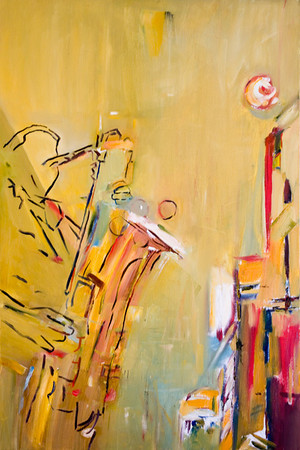 SOLD Le saxophoniste , 24 X 36 Oil