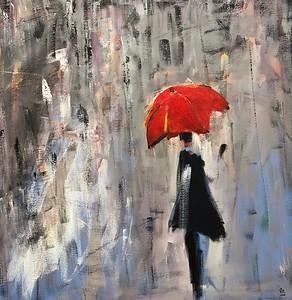 SOLD Le parapluie rouge 36 X 36 Acrylic