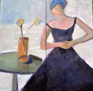 SOLD Femme en bleu  36X36 in 2 panel, Oil