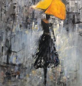 SOLD Le parapluie jaune 36 X 36 Acrylic