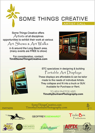 Artist Call. If you are interested in showing in Unconventional Spaces at various events in Long Beach. Email for more information Tim@SomeThingsCreative.com
