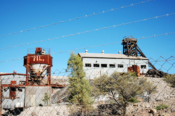Thompson Shaft<br /> Menindee Road, Broken Hill<br /> Outback NSW, Australia<br /> <br /> Thompson Shaft from 1910 was part of the British Mine in Broken Hill and was a main ore producing area.  Mining from this shaft appears to have ended in 1958.  It has since been abandoned.