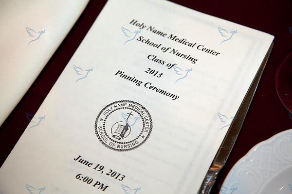 Holy Name Medical Center 2013 School of Nursing RN pinning ceremony held at Seasons in Washington Township.  6/19/13  Photo by Jeff Rhode/Holy Name Medical Center
