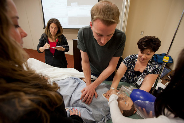 """20120409 Emergency Drill 2012 at the School of Nursing (SON) at Holy Name Medical Center in Teaneck, NJ. During this exercise the students were informed that there was a """"pepper spray incident"""" at the mall, which caused a stampede. 4/9/12  Photo by Jeff Rhode/Holy Name Medical Center"""