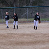 Freshmen Haley Romines, Alisa Barger and Jr. Ainsley Presswood warm up before the game 03-15-10 Lady Waves vs Webb