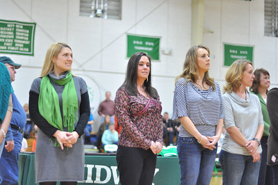 (L to R) Alton Lingerfelt, Kristi McKeown Longanecker, Dewayna Plemons Killen, Missy Edgemon Guettner, and Shannon Edgemon Hill and Cindy Rose Jones listening as history of softball team is shared.