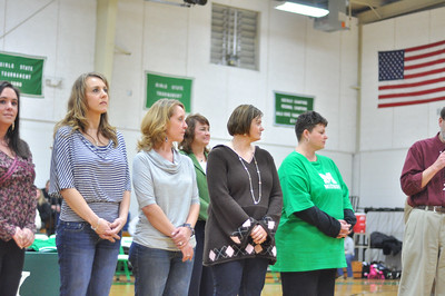 (L to R) Dewayne Plemons Killen, Missy Edgemon Guettner, Shannon Edgemon Hill, Cindy Rose Jones, Colie Beason Clark, and Magon Beason Stakley listen as Mr. Houston Raby - former principal at Midway High School - tells about when the softball team was started.