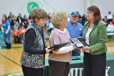 Barbara Berwanger and Vivian Kittle (Mrs. Allie's daughters) receiving certificate and plaque for Mrs. Allie Howard - Midway Hall of Fame inductee from Cindy Rose Jones.