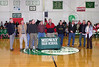Midway Hall of Fame Induction Ceremony for Mr. Stanley Galyon - Mathematics Teacher/Boys Basketball Coach attended by former basketball players/students of Mr. Galyon (L to R) Archie Edgemon, Ron Woody, Jerry Walker, Lewis Galyon (son), Keevin Woody, Wade Ray, Wade Rucker, San Narramore, Mike Thompson and Cindy Jones.