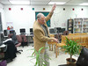 Video of Ron Woody - former student - demonstrating tomato hanging device invented by Mr. Carter.