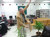 Ron Woody - former student of Mr. M. F. Carter - demonstrates how to use the tomato hanger invented by Mr. Carter.