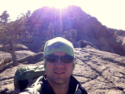 Self portrait #2 with Greyrock summit in background