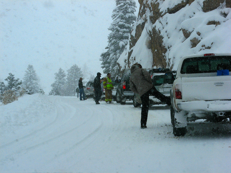 2 wrecks along the canyon.  Both involved cars going over the edge.  This one was about a 30 minute wait for us while they pulled the 2 cars back up from the river.  For some reason, every person got out of their cars and kicked the snow out of their wheel wells.  People are funny.