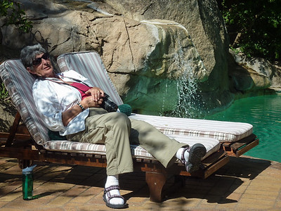 Sandy Grasso-Boyd resting beside the Idube pool