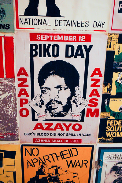 Biko Day Poster<br /> Apartheid Museum<br /> Soweto<br /> <br /> Stephen Bantu Biko was an anti-apartheid activist in South Africa in the 1960s and 1970s.  A student leader, he later founded the Black Consciousness Movement which would empower and mobilize much of the urban black population. Since his death in police custody, he has been called a martyr of the anti-apartheid movement.