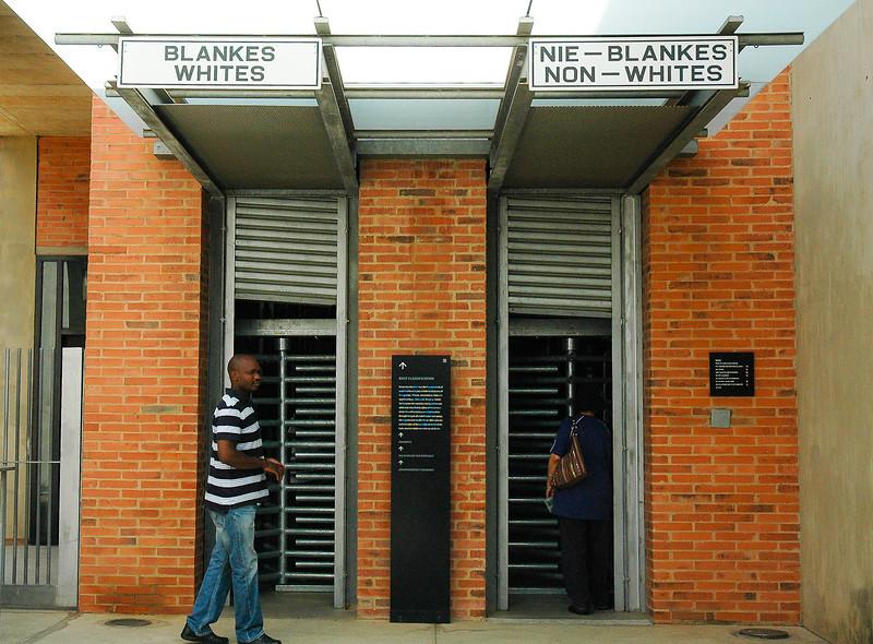 Whites & Non-White Entrances<br /> Apartheid Museum<br /> Soweto