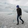 Woman walking in ice on Perito Moreno Glacier, Los Glaciares National Park, Santa Cruz Province, Patagonia, Argentina